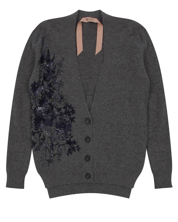 кардиган из шерсти и мохера с вышивкой пайетками артикул N2MA030 марки № 21 купить за 42800 руб.