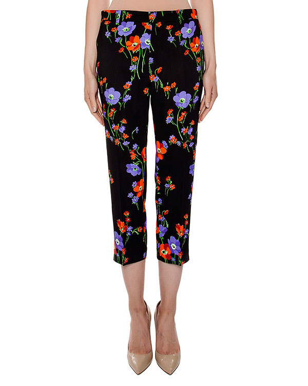 брюки укороченного кроя из легкой ткани с цветочным принтом артикул N2S0B133 марки № 21 купить за 15300 руб.