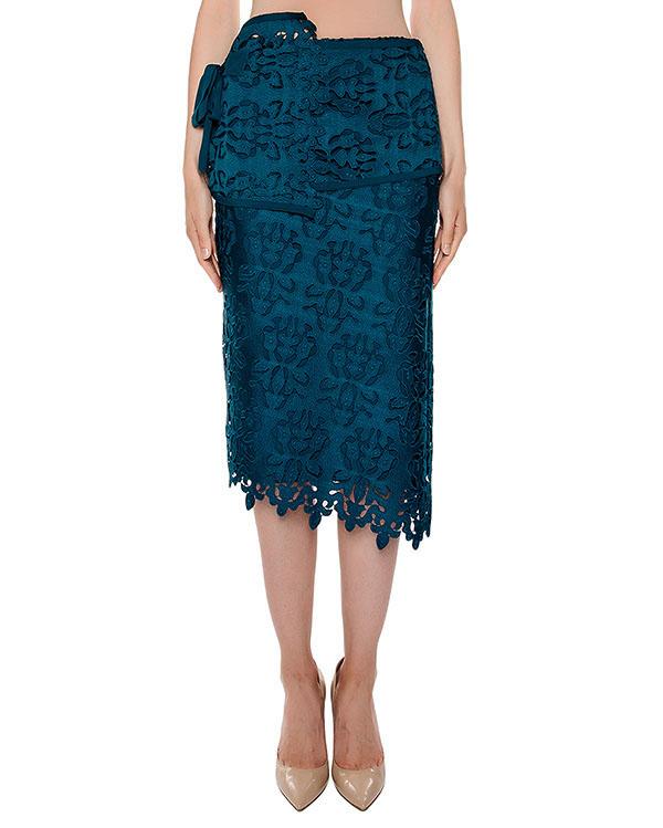 юбка асимметричного кроя из плотной ткани и кружева артикул N2S0C041 марки № 21 купить за 31800 руб.