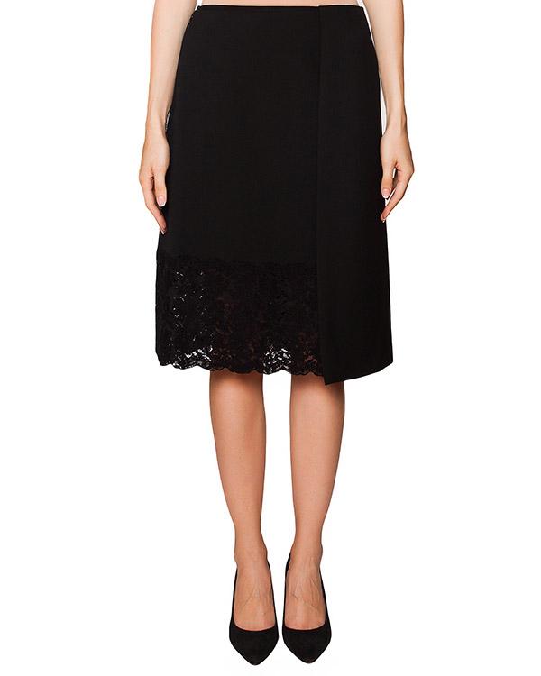 юбка из плотной ткани с кружевной отделкой артикул N2SC082 марки № 21 купить за 19000 руб.