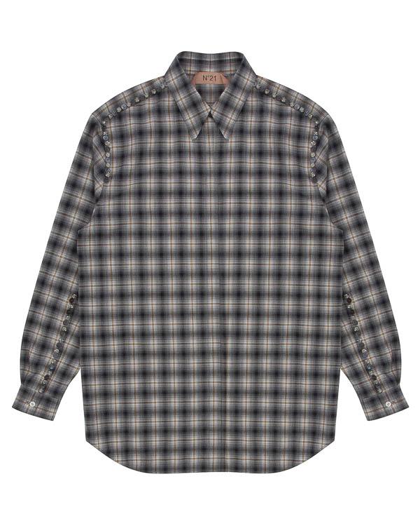 рубашка из хлопка с отделкой пуговицами и кристаллами артикул N2SG022 марки № 21 купить за 30200 руб.