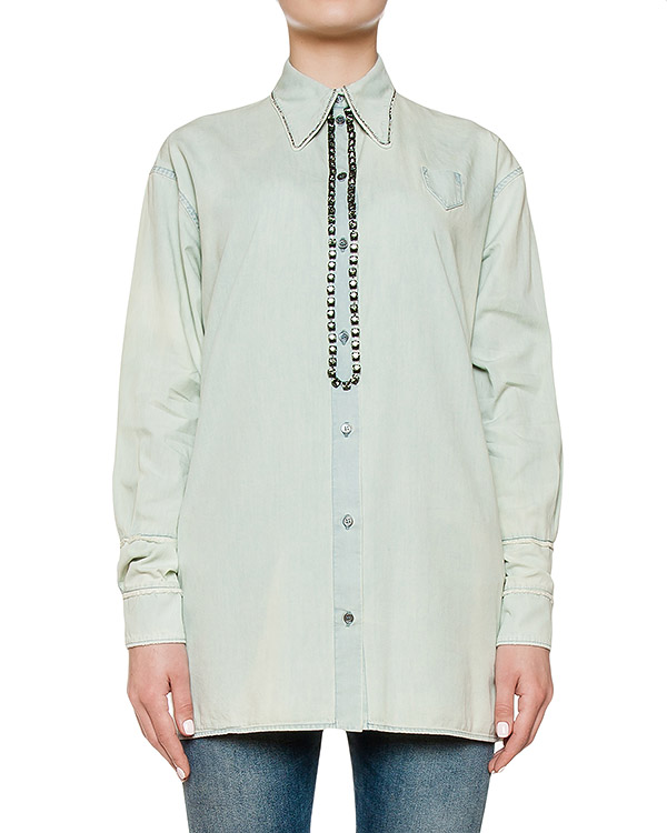 рубашка из хлопка, украшена кристаллами артикул N2SG046 марки № 21 купить за 27900 руб.