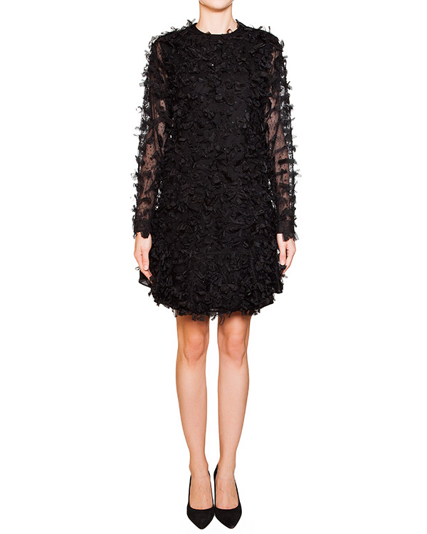 платье из шелка и шерсти с полупрозрачными рукавами, спереди декорировано мелкими бантами артикул N2SH131 марки № 21 купить за 51900 руб.