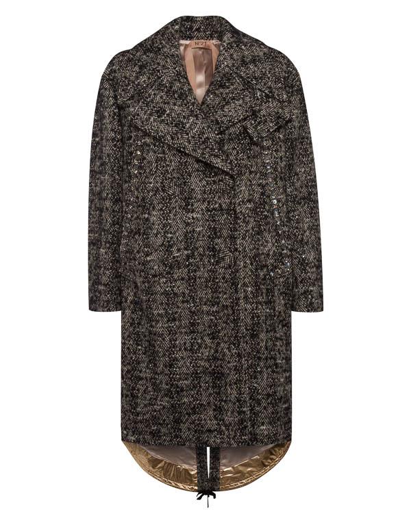 пальто из шерсти прямого силуэта артикул N2SN052 марки № 21 купить за 123100 руб.