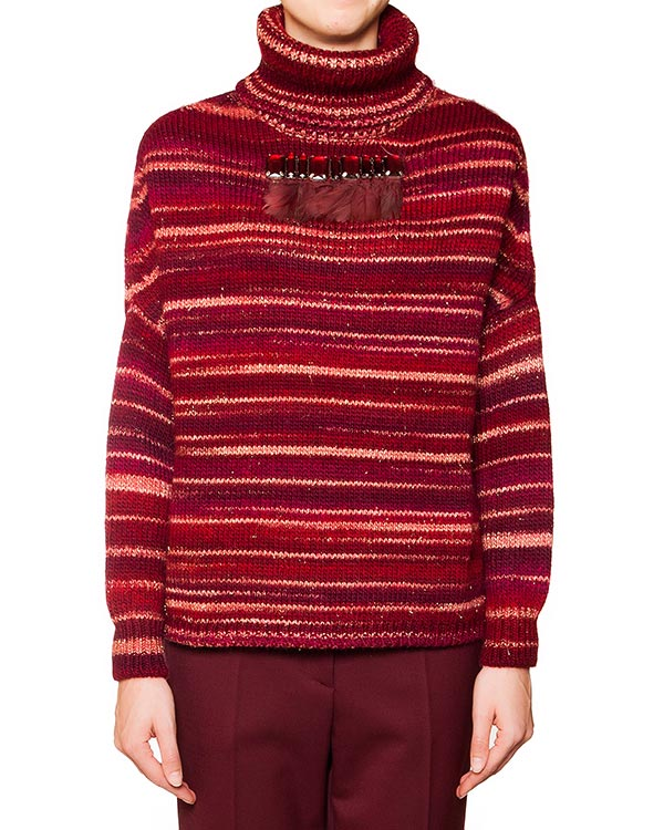 свитер полушерстяной в полоску, декорирован кристаллами и перьями артикул NILO512006Z марки P.A.R.O.S.H. купить за 10800 руб.