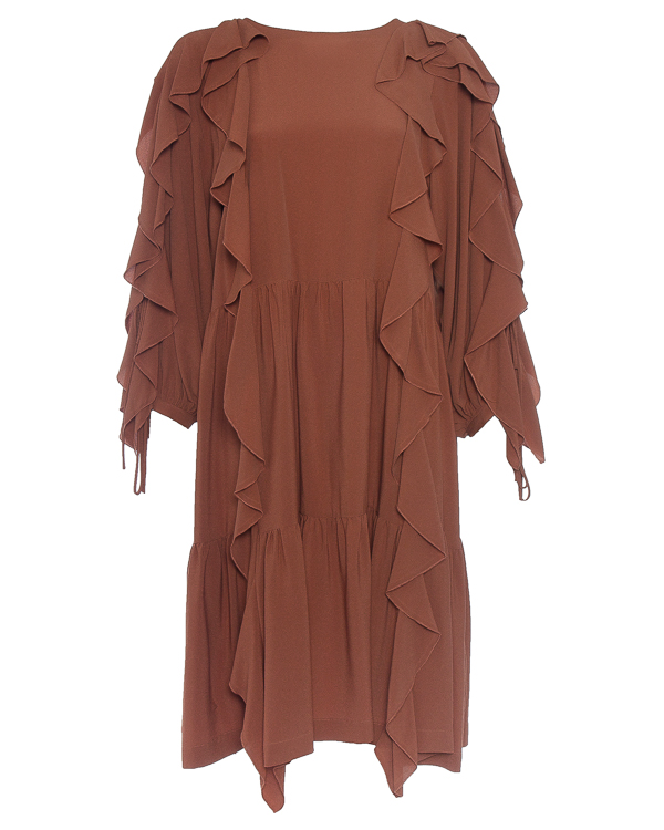 платье с богатой отделкой оборками и рюшами артикул P7AT62 марки Erika Cavallini купить за 30900 руб.