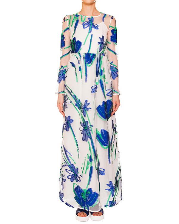 платье из полупрозрачной ткани с вышитым цветочным рисунком; нижнее платье из легкого хлопка артикул PAGE720316 марки P.A.R.O.S.H. купить за 31800 руб.