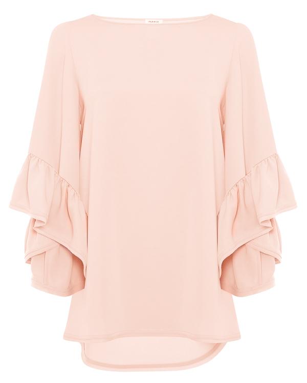 блуза свободного силуэта с отделкой воланами артикул PANTERY310455 марки P.A.R.O.S.H. купить за 25000 руб.