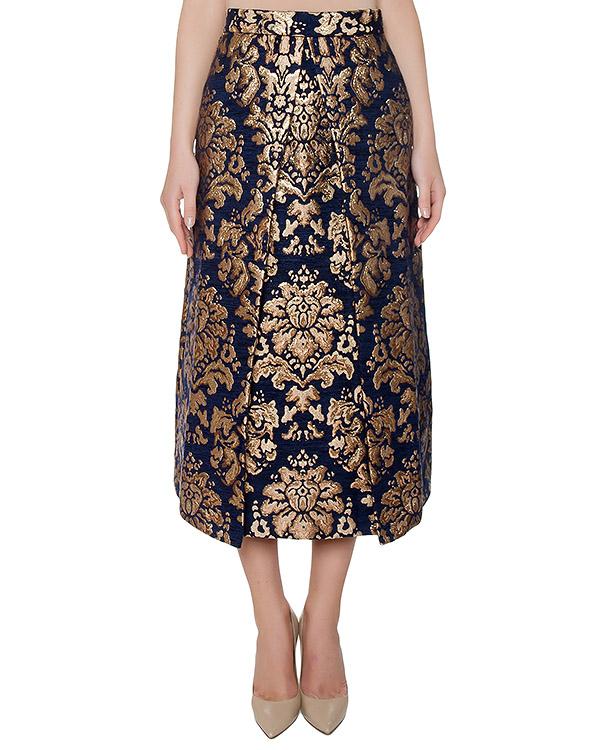 юбка из жаккарда с золотистым узором артикул PAPERWAL620180 марки P.A.R.O.S.H. купить за 17000 руб.