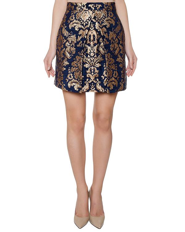 юбка из жаккарда с золотистым узором артикул PAPERWAL630060 марки P.A.R.O.S.H. купить за 12200 руб.