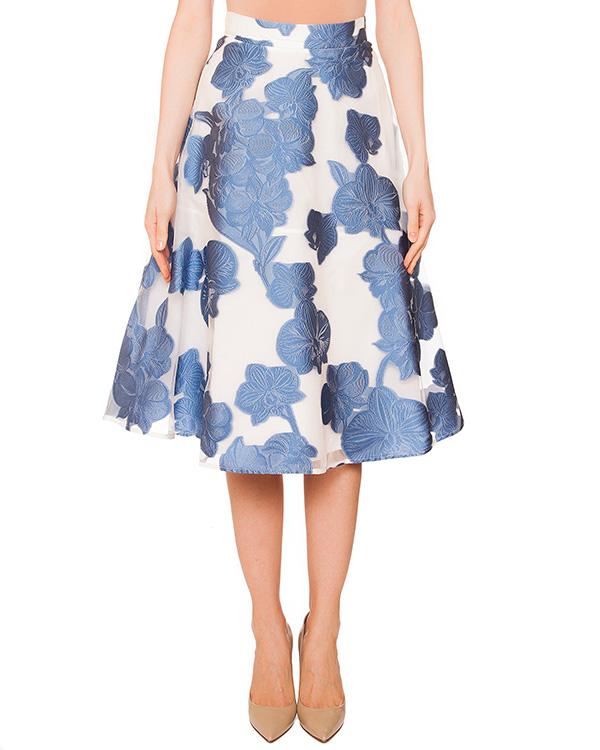 юбка из плотной ткани с верхним слоем из органзы, декорирована вышивкой артикул PARAMORE620047 марки P.A.R.O.S.H. купить за 20500 руб.
