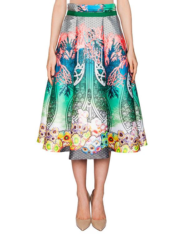 юбка из тонкого неопрена с ярким принтом артикул PE16D202 марки Piccione piccione купить за 18100 руб.