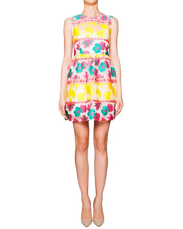 платье из полупрозрачной ткани с вышитым цветочным рисунком; нижнее платье из легкого хлопка артикул PENELOPE730139 марки P.A.R.O.S.H. купить за 23300 руб.