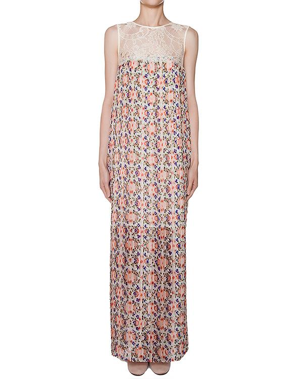 платье из легкой ткани в складку с цветочным принтом, дополнено кружевной отделкой артикул PENKA720455 марки P.A.R.O.S.H. купить за 20400 руб.