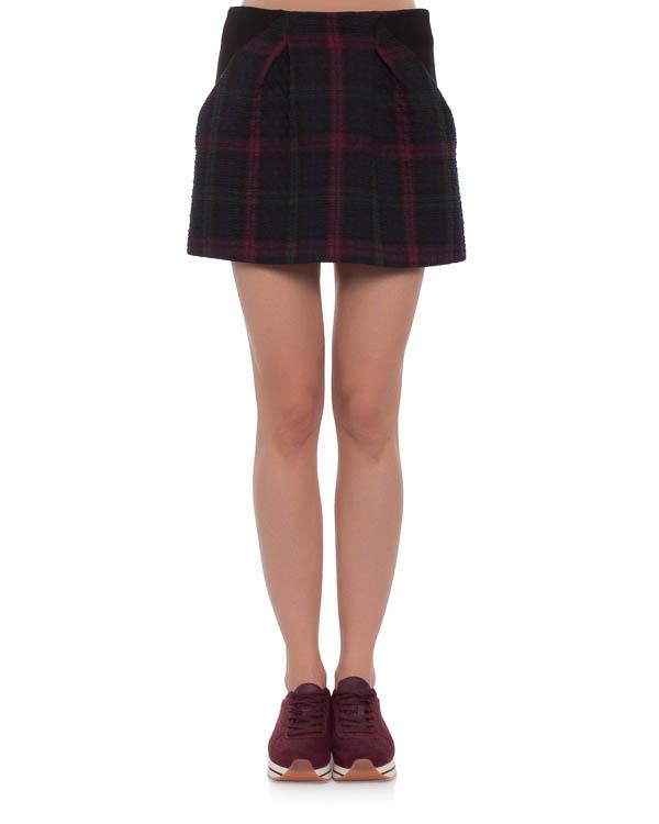 юбка mini из плотной, комбинированной фактурной ткани артикул POSKT042 марки Thakoon купить за 8900 руб.