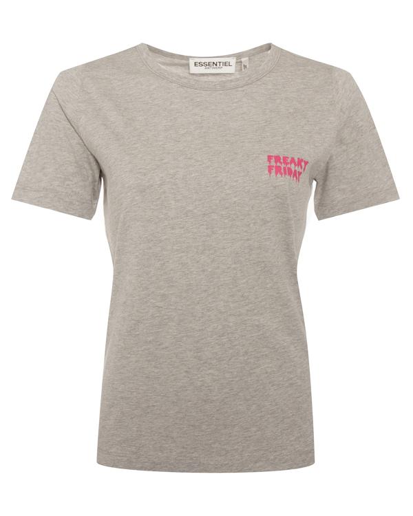 футболка из хлопка с мини-надписью  артикул PUSHME марки Essentiel купить за 4000 руб.