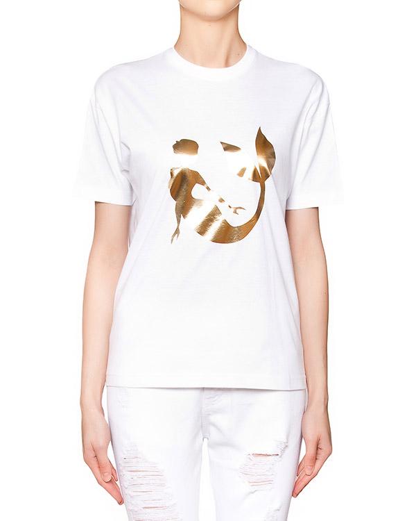 футболка из мягкого хлопка с золотистым принтом в виде русалки артикул S16MTS311TSH марки Marcobologna купить за 7100 руб.