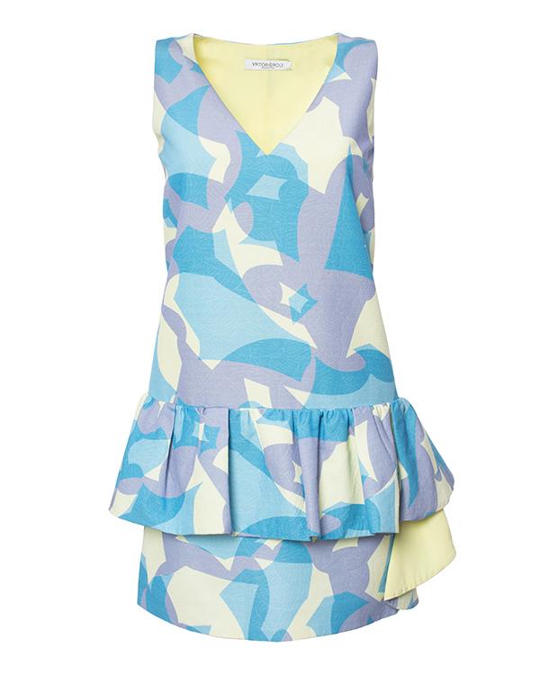 платье из плотной хлопковой ткани с ярким узором, декорирована воланом артикул S44CT0424 марки VIKTOR & ROLF купить за 30200 руб.