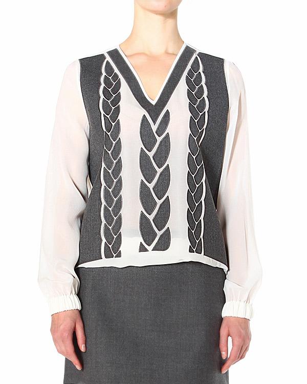блуза с нашивной аппликацией в виде косиц артикул S45NC0187 марки VIKTOR & ROLF купить за 27000 руб.