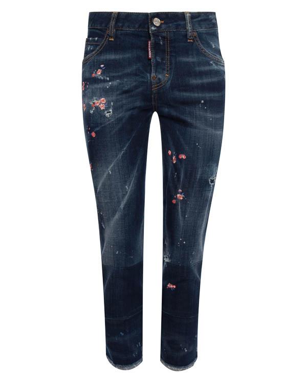джинсы укороченного силуэта с вышивкой артикул S72LA0994 марки DSQUARED2 купить за 35100 руб.