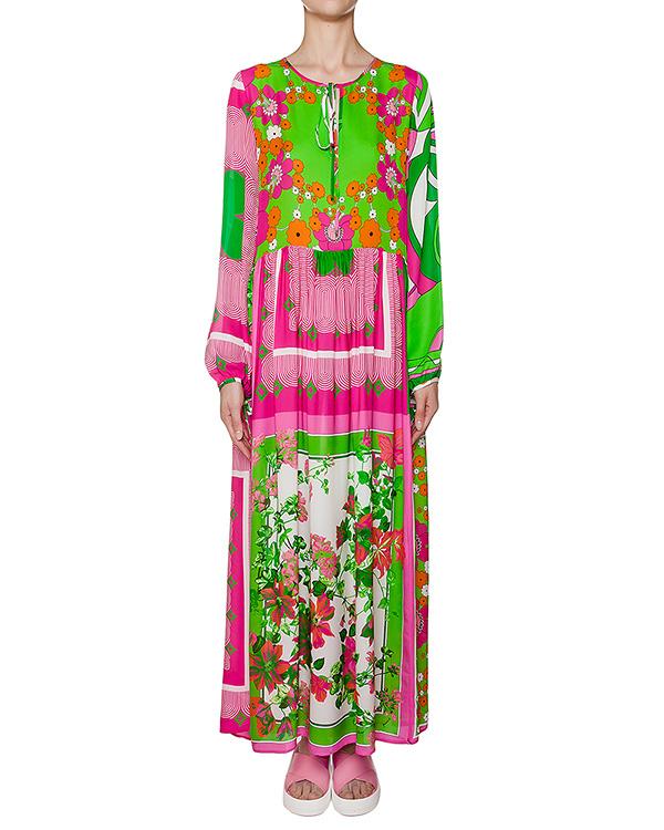 платье из легкого шелка свободного кроя с ярким принтом артикул SECOLOR720470 марки P.A.R.O.S.H. купить за 29800 руб.