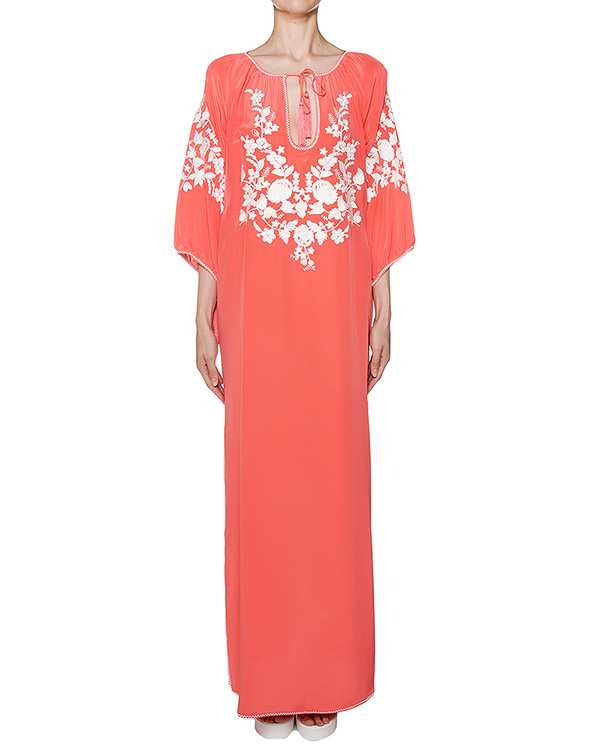платье свободного кроя из легкого шелка с вышивкой артикул SUSINO720628 марки P.A.R.O.S.H. купить за 17800 руб.