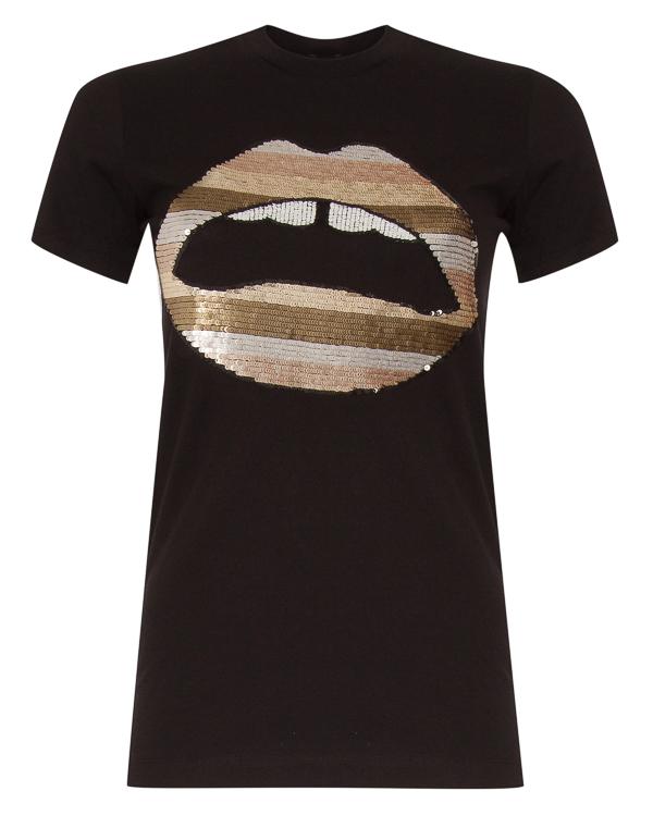 футболка из хлопка с принтом из пайеток артикул TEE024 марки Markus Lupfer купить за 20000 руб.