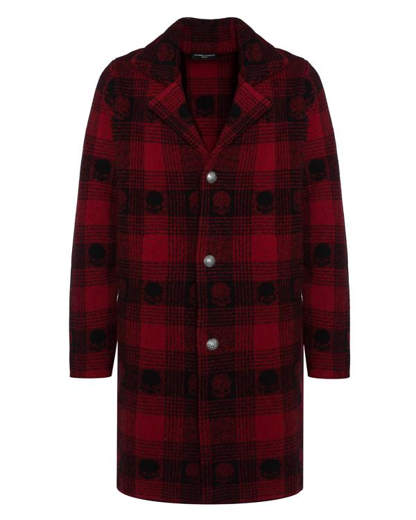 пальто  из шерсти в клетку с принтом черепа артикул UCTARTAN408 марки Gemma H купить за 25900 руб.