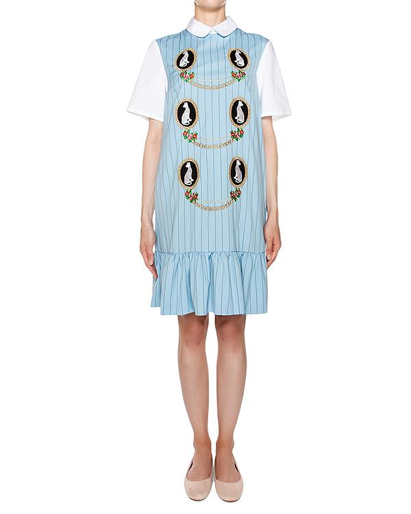 платье прямого кроя из легкой ткани в полоску, дополнено контрастными рукавами и нашивками артикул VP590 марки VIVETTA купить за 29000 руб.
