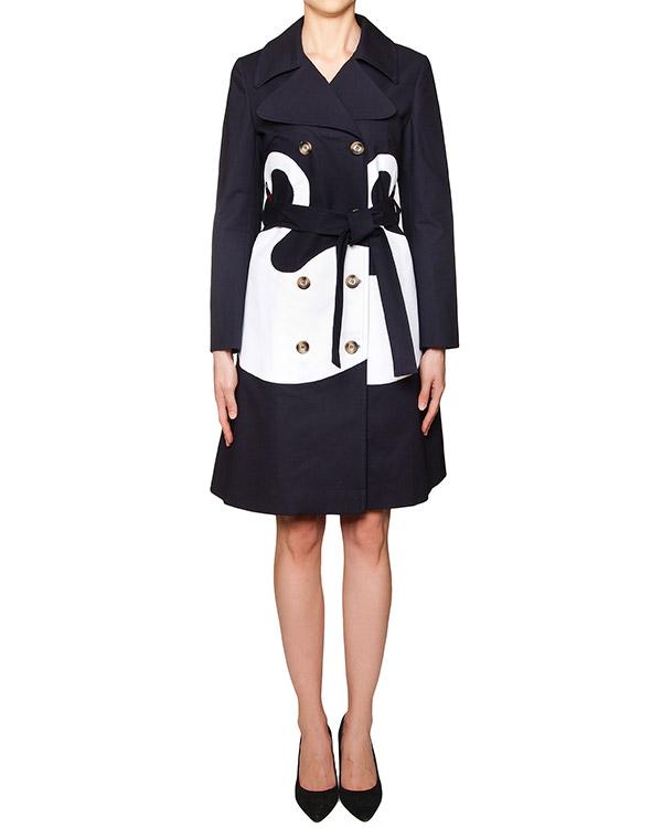 пальто двубортное из плотного хлопка декорировано аппликацией в виде белых лебедей артикул VV100 марки VIVETTA купить за 25900 руб.