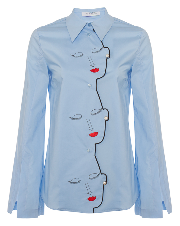 блуза из хлопка с арт-вышивкой  артикул VV241 марки VIVETTA купить за 34100 руб.
