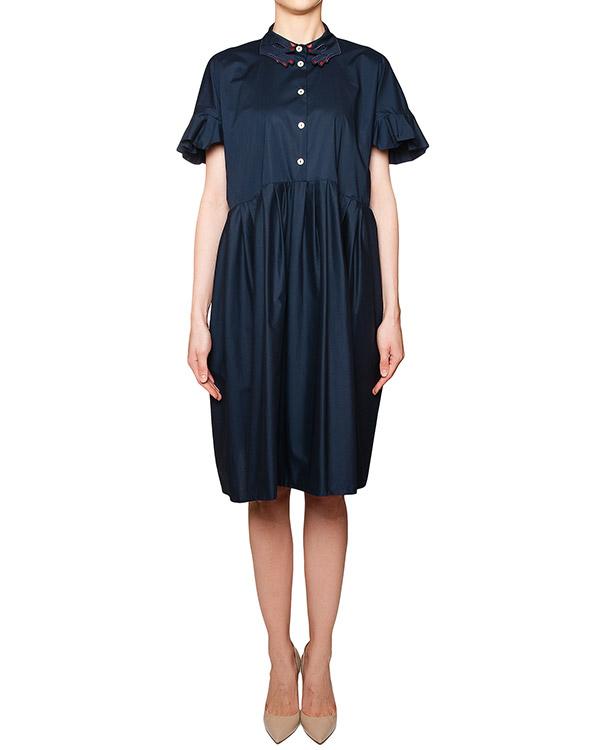 платье свободного кроя из мягкого хлопка, декорировано фирменным воротником в виде ладоней и оборками артикул VV522 марки VIVETTA купить за 13200 руб.