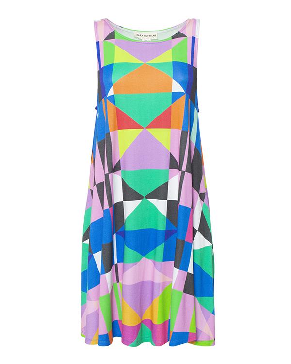 платье свободного кроя из легкой ткани с геометрическим принтом артикул W601190170 марки Mara Hoffman купить за 24700 руб.