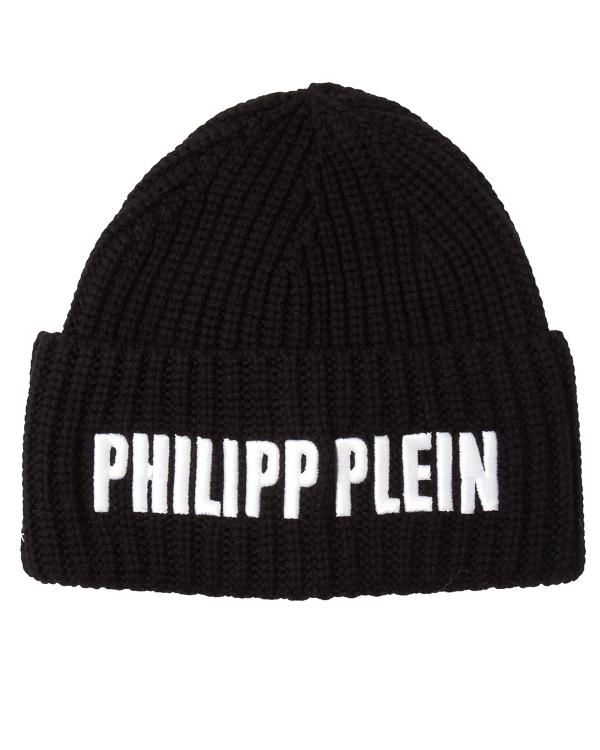 шапка из вязаной шерсти с вышивкой  артикул WAC0124 марки PHILIPP PLEIN купить за 21400 руб.