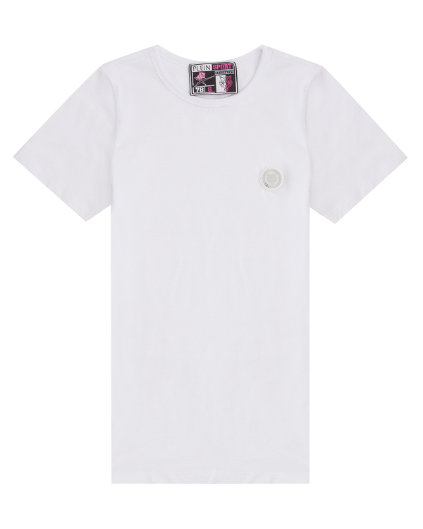 футболка из хлопка с логотипом бренда артикул WTK0803 марки PHILIPP PLEIN sport купить за 9900 руб.