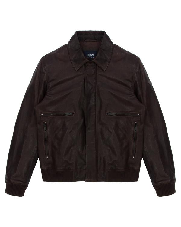 куртка классического кроя из натуральной кожи артикул ZGB06P марки ARMANI JEANS купить за 35500 руб.